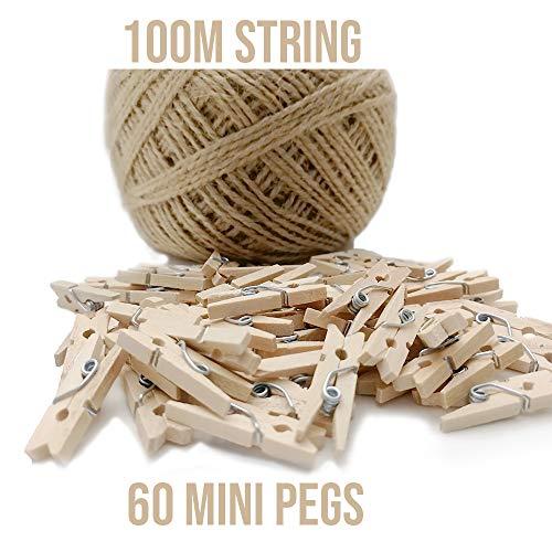60 mini pinces en bois + ficelle de 100 m, Mini piquets pour décoration, décoration de bricolage, mini pinces à linge en bois, petits pinces à linge pour les loisirs créatifs, les mariages
