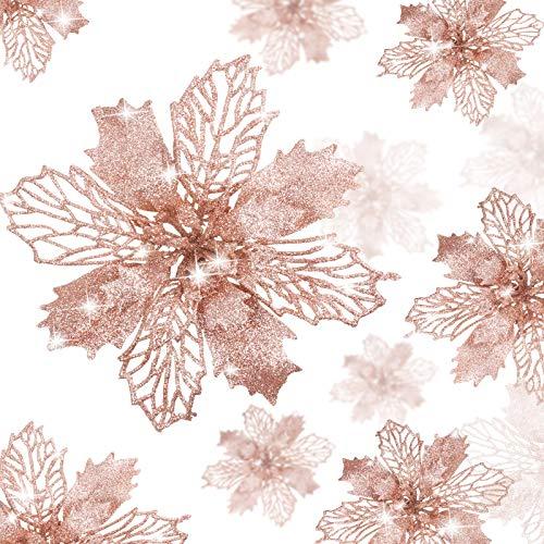 WILLBOND 36 Piezas Flores de Navidad Flores de Pascua Brillantes Flores Artificiales Adornos de Año Nuevo de Árbol de Navidad de Boda (Oro Rosa)