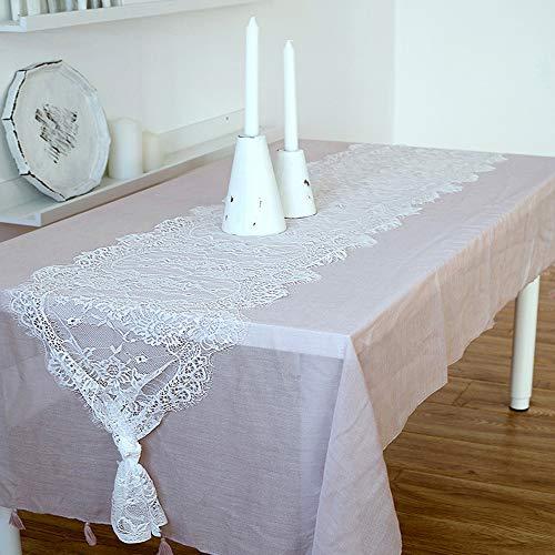 Deer Platz Spitze Tischläufer, Spitze Weiß Stickerei Tischläufer, für Tischdekoration, Hochzeit Festival Party Home Deko, 37cmX300cm(Weiß)