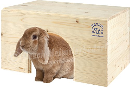 Resch Nr13 Kaninchenhaus flach naturbelassenes Massivholz aus Fichte/extra groß, für 2 Kaninchen
