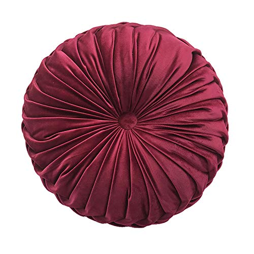 Elero Round Throw Pillow Velvet Home Decoration Pleated Round Pillow Cushion for Couch Chair Bed Car Burgundy