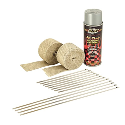 Design Engineering 010331 Motorcycle Exhaust Pipe Wrap Kit with Hi-Temp Silicone Coating Spray - Tan Wrap / Aluminum Spray