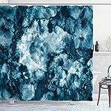 ABAKUHAUS Marmor Duschvorhang, Marmor Stein Effekt, mit 12 Ringe Set Wasserdicht Stielvoll Modern Farbfest & Schimmel Resistent, 175x180 cm, Blau