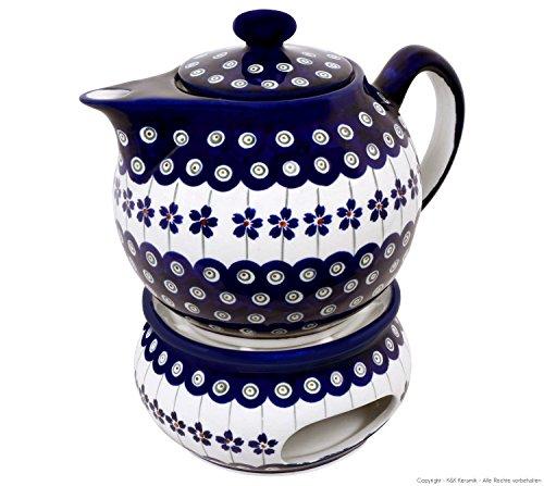 Original Bunzlauer Keramik Teekanne mit Stövchen 1.00 Liter im Dekor 166a
