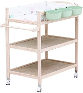 SuRose Wood Baby Changing Table Wheels  Nursery Girls Boys Infants Massage Dresser Bathtub Station with storage  0-3 Years Old