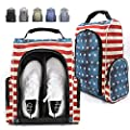 Champkey 600D Polyester High Performance Golf Shoe Bag - Removable Divider & Zippered Shoe Carrier Bags, Water Resistant & Scratch Resistant Sports Shoe Bag Ideal for Golfer?Patriot?5-13 US Size?