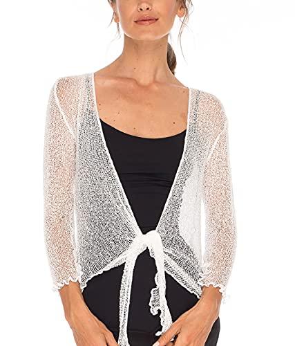 SHU-SHI - Damen Bolero-Cardigan zum Zubinden - transparent - leichtes Strickmaterial - Einheitsgröße - Reinweiß