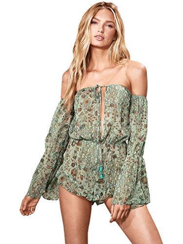 Victoria's Secret Off The Shoulder Shimmer Sheer Romper Cover-up Green Floral Print Large