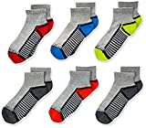 Fruit of the Loom Boys 6-Pair Half Cushion Ankle Socks, Gray Assort, Large (Shoe Size: 3-9)
