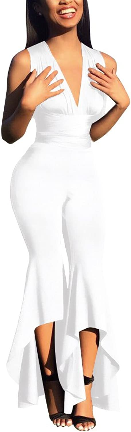 Ophestin Womens Pure color Tunic Bodycon Long Pants Clubwear Wide Leg Jumpsuit White XL