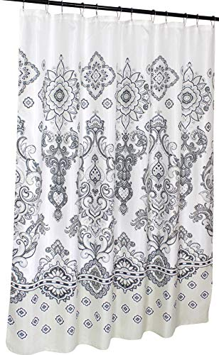 "Decorative Fabric Shower Curtain: Eclectic Floral with Border, Grey Beige White 72"" x 72"" inch (Kate)"