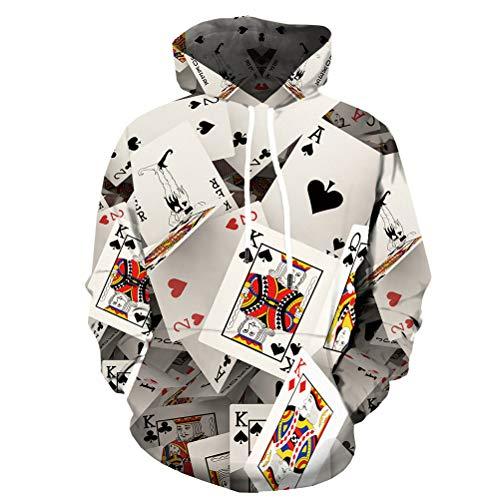 KYKU Poker Hoodies for Men 3D Hoodie Las Vegas Funny Hoody Print Sweatshirt Cool (X-Large)