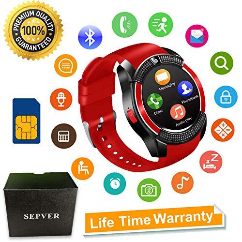 Smartwatch SEPVER Reloj Inteligente Smart Watch con Cámara Soporte de Pantalla Táctil Tarjeta SIM Compatible con Samsung Sony HTC Huawei Xiaomi Honor Android iPhone ios para Hombre Mujer Niños (Negro)