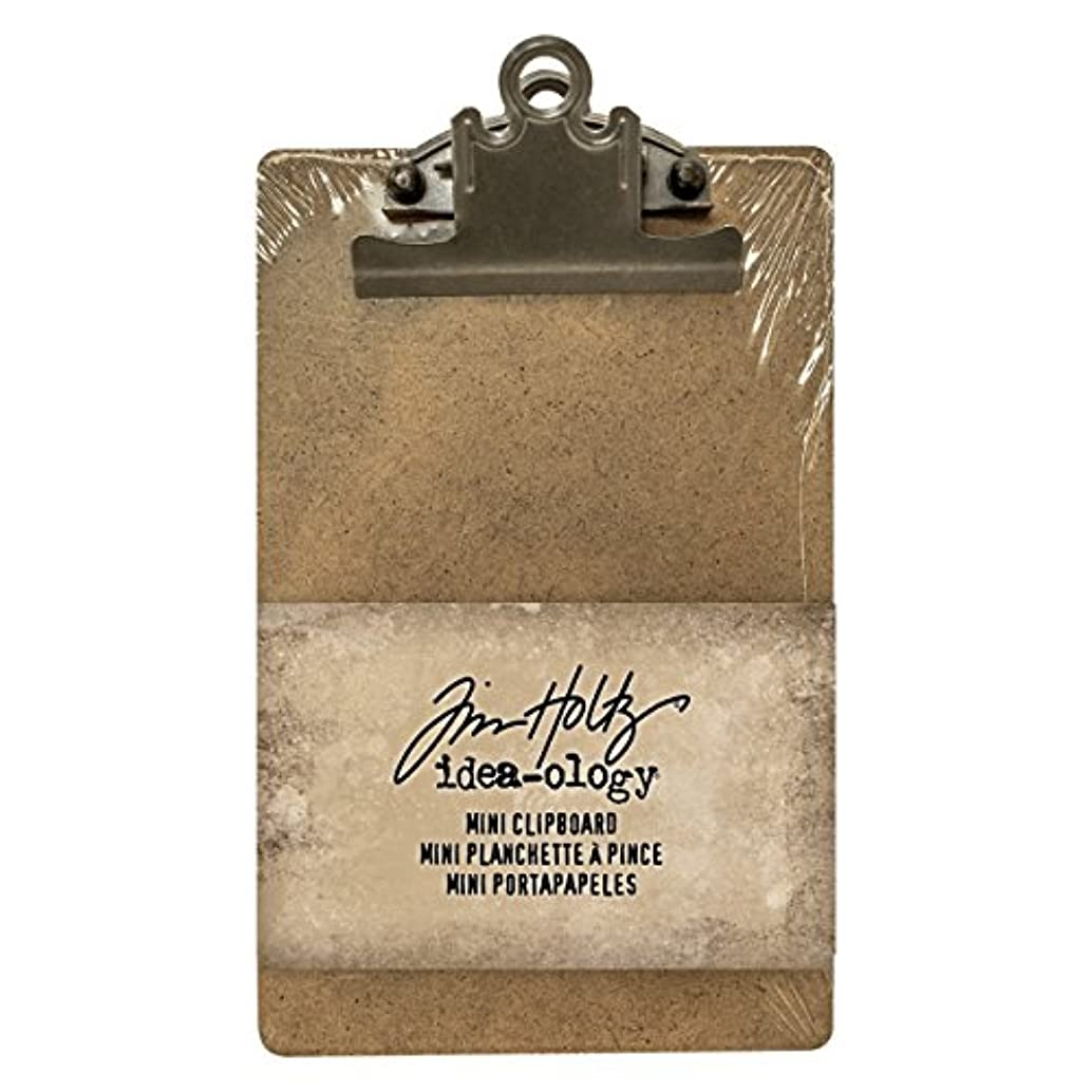 Tim Holtz Idea-ology Mini Clipboard, Approximately 7.75 x 4.5 Inches, Antiqued Brass, Removable Metal Hinge (TH93278)