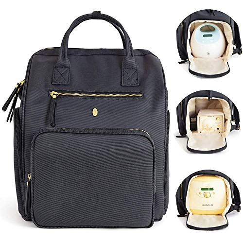 """Idaho Jones Breast Pump Backpack - Chertsey / Breast Pump Tote. Breast Pumping Bag with Cooler Pocket and 15"""" Laptop Sleeve. Breast Pump Bag Spectra S1, S2, Large Medela Symphony, and Wearable Pumps"""