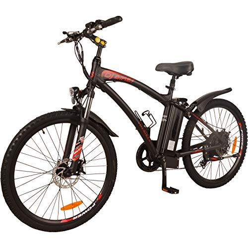 DJ Mountain Bike 750W 48V 13Ah Power Electric Bicycle, Matte Black, LED Bike Light, Fork Suspension and Shimano Gear,