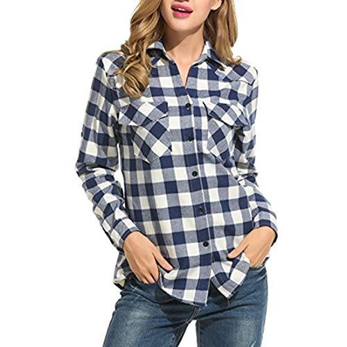 Damen Bluse Langarm Plaid Shirt Tops Casual Bluse Knopf V-Ausschnitt Hemd Damen...