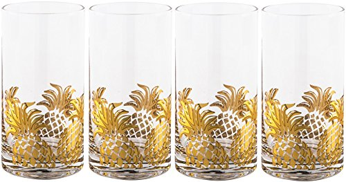 Gold Pineapple Highball Glasses