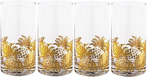 Gold Pineapple Highball Glasses