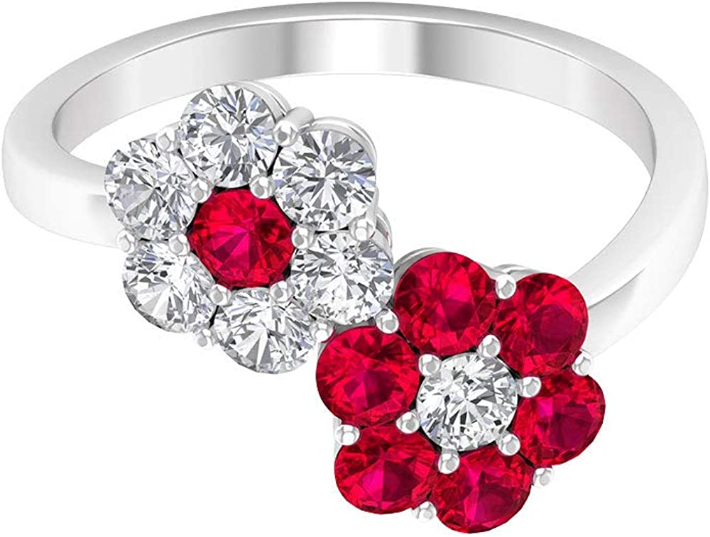 1.05 Ct SGL Max 69% OFF Certified Ruby Glass Filled Wedding Unique Ring Low price Flo