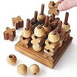 TIC TAC TOE 3D - pour 2 joueurs à partir de 6 ans - Jeu de société familial en bois massif et aux normes CE, marque française le DÉlirant. Un morpion avec plus de possibilités puisqu'en 3 dimensions !
