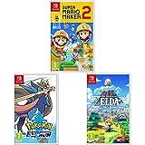 Super Mario Maker 2 + Pokémon Espada + Zelda Link's Awakening Remake