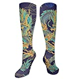Adults Kids Comfortable Novelty Knee High Crew Socks Athletic Over The Calf Compression Socks Tradition Chinese Dragon Design Long Tube Stockings For Cosplay Party Daily Wear 19.7 Inch