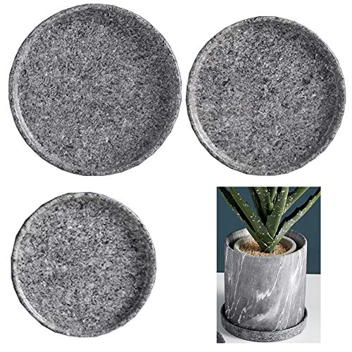 Soucoupe,3PCS Soucoupe pour pot de fleur rond couleur anthracite Dessous de pot de fleurs en plastique Sous-pot pour plantes Plateau pour pot de fleurs rond