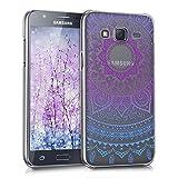 kwmobile Funda Compatible con Samsung Galaxy J5 (2015) - Carcasa para móvil - Protector Trasero Sol hindú Azul/Rosa Fucsia/Transparente
