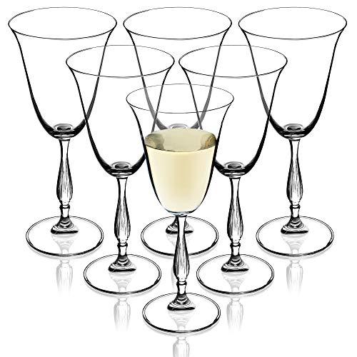 Weingläser aus Kristallglas, 6er Set, 250ml, hochwertige Qualität, Weinkelch mit hohem Stiel, für zu Hause, Party, Elegante Weißweingläser, schöne Rotweingläser