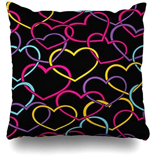 Fodere per cuscini da tiro Magenta Rosso Neon Colore San Valentino Cuori Motivo Feste Feste Blu Amore Pittura Fodera per cuscino moderna Decorazioni per la casa Divano Dimensioni quadrate 50x50cm (20In) Federe
