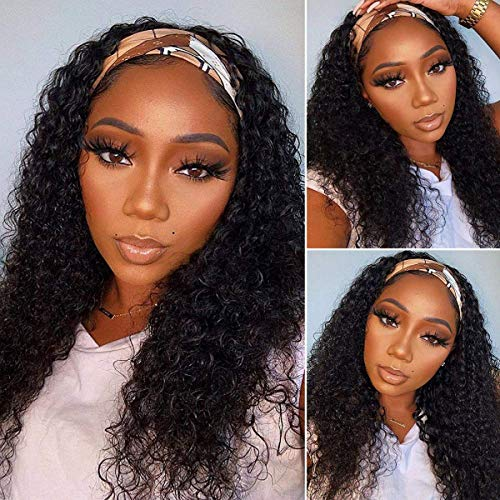 Headband Wig Deep Wave 18 inch Human Hair Wigs None Lace Front Wigs Virgin Hair Machine Made Wigs curly hair Headband for Black Women