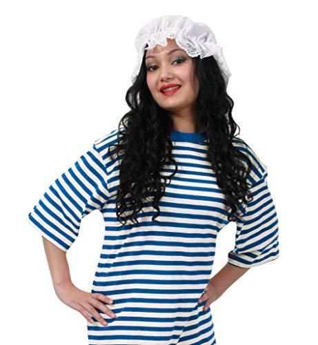 KarnevalsTeufel Kostüm - Set Schlafmütze, 2-TLG. Ringel-Shirt Kurzarm (Baumwolle) und Schlafhaube, blau/weiß, Schlafwandler, Clown | Karneval, Pyjamaparty, Mottoparty (M)