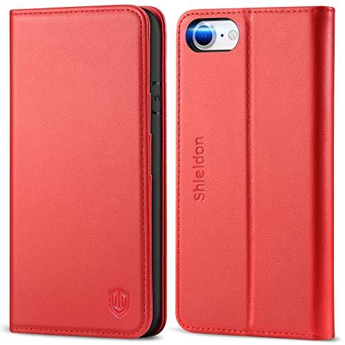 SHIELDON iPhone SE 2020 Hülle, Handyhülle iPhone 8 [Rindsleder] [Lifetime Garantie] [Kartenfach] [Magnetverschluss], TPU Stoßfeste Klappbare Schutzhülle Flip Hülle Kompatibel für iPhone 7/8/SE2 4,7 Rot