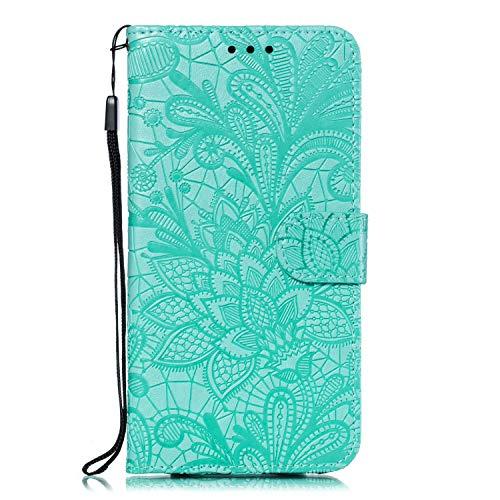 Hülle für Nokia 1Plus Lederhülle Flip Tasche Klappbar Handyhülle mit [Kartenfächer] [Ständer Funktion], Cover Schutzhülle für Nokia 1 Plus - JEEB021186 Grün