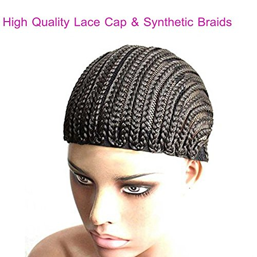 Price comparison product image Braided Weave Cap Combs Crochet Wig Cap in Cornrow Braiding Weave Cap for easier Sew in Black Color(cornrow-1pack)