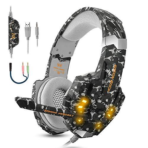Casque PS4 Gaming, Casque Gamer Anti-Bruit Audio Stéréo Basse avec Lumière LED pour PS4, PC, Laptop, Tablette et Smartphone, Noir