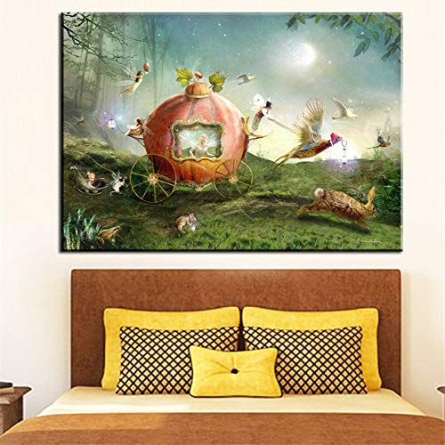 wZUN Dibujos Animados Ángel Flor Hada Pintura al óleo Abstracta Lienzo póster impresión de Pared habitación de niña decoración navideña 50x70cm
