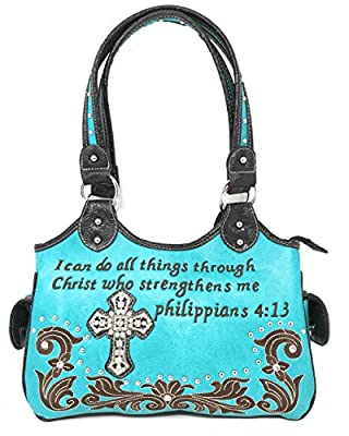 Texas West Concealed Carry Bible Verse Rhinestone Cross Flora Cowgirl Women Handbag in 6 Colors (Turquoise)