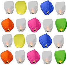 LARA Sky Lanterns for Diwali (Big, Mix Colours) - Pack of 20