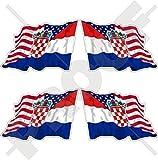 USA Vereinigte Staaten von Amerika und KROATIEN Hrvatska, Amerikanisch und Kroatisch Wehende Flagge, Fahne 50mm Auto & Motorrad Aufkleber, x4 Vinyl Stickers (Links - Rechts)
