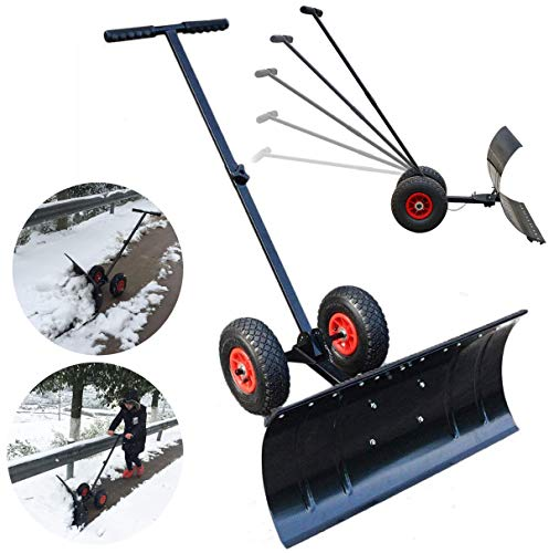 For Sale! Rolling Snow Pusher Manual Snow Truck Push Plow with Extension Steel Handle,Adjustable Sno...