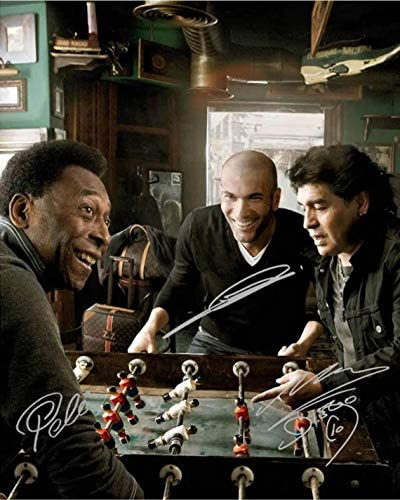 Pele Diego Maradona Zinedine Zidane Soccer GOATS Signed Photo Autograph Reprint Poster Wall product image