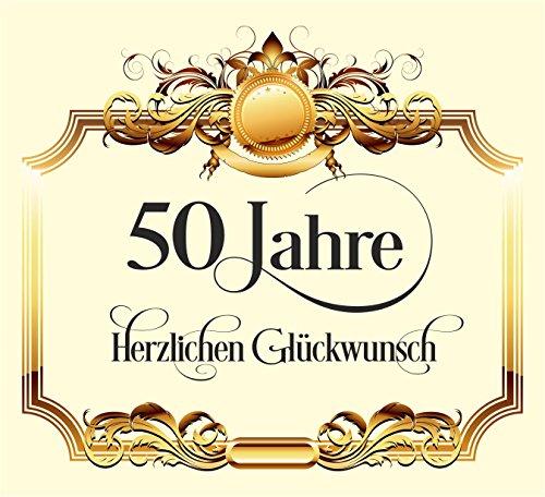 RAHMENLOS 3 St. Aufkleber Original Design: Selbstklebendes Flaschen-Etikett zum 50. Geburtstag: Herzlichen Glückwunsch!