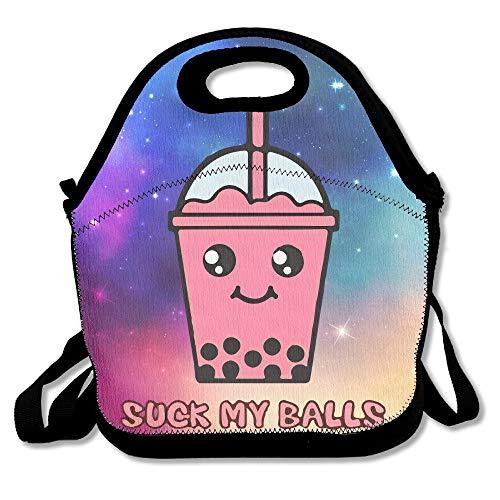 Janeeyre27 Suck My Balls Kawaii - Bolsa de té con burbujas para el almuerzo, bolsa de mano, contenedor de alimentos, organizador para la escuela, el trabajo al aire libre