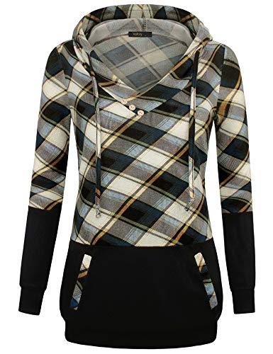 VAFOLY Damen Kapuzenjacke Sweatshirtjacke Hood Long Damen Lange Sweatjacke Mit Kapuze Und Fleece-Innenseite (Blau-Beige, XL)