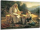 Cuadros de lienzo 20x30cm sin marco Jesús habla con una mujer samaritana sobre lienzo Arte de la pared del dormitorio Decoración Dios Cristo Imágenes Decoración del hogar