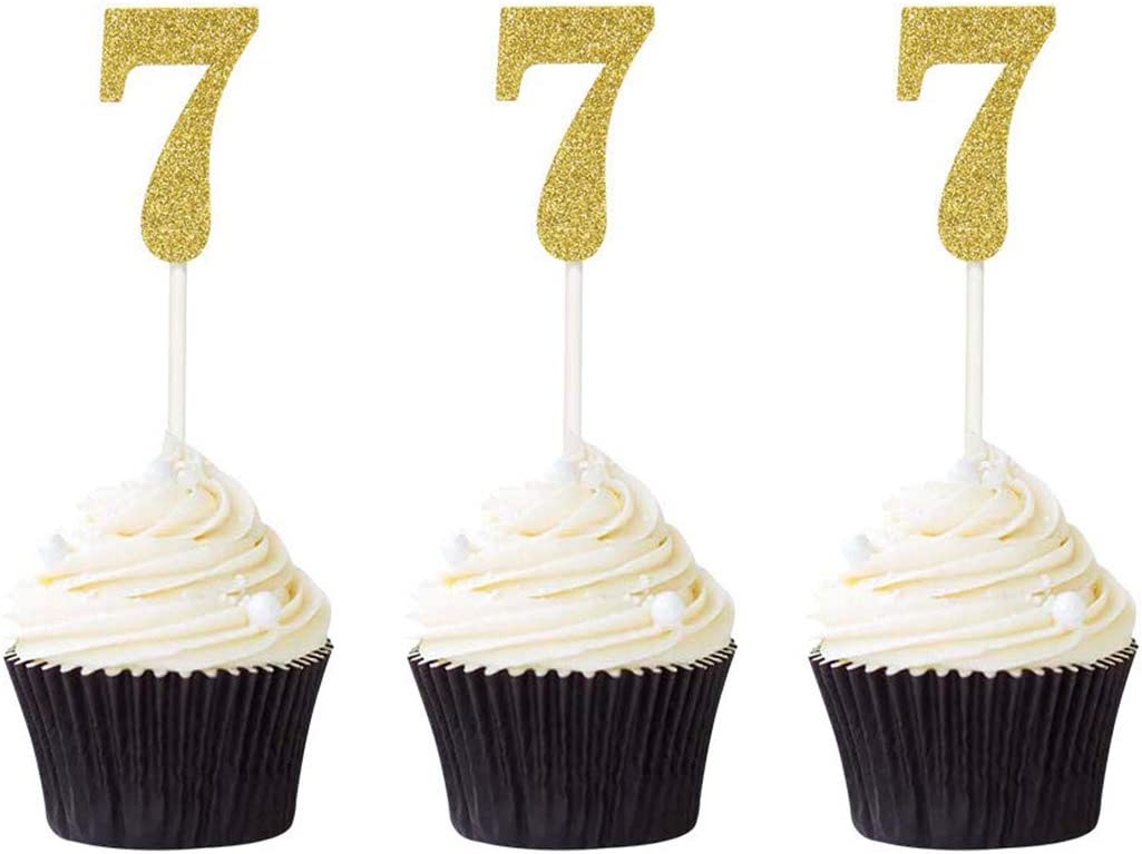 We OFFer at cheap prices Pack of 24 Number 7 Cupcake 7th Glitter Gold Cu Toppers Birthday Wholesale