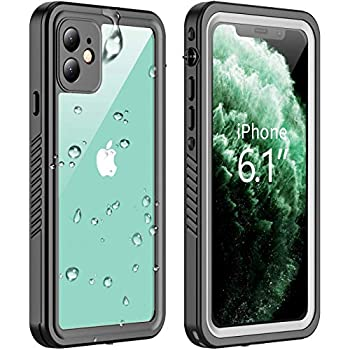 Vapesoon Compatible with iPhone 11 Waterproof Case Built-in Screen Protector Full-Body Rugged Bumper Sealed Cover Shockproof Dustproof Waterproof Case for iPhone 11 6.1 inch  Black/Clear