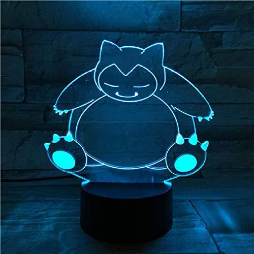 3D-Illusionslampe LED-Nachtlicht Schnarchtischlampe USB-Raumsensor Touch-Dekoration Kind Kinder Geschenk Cartoon Spielzeug Spiel Pokemon